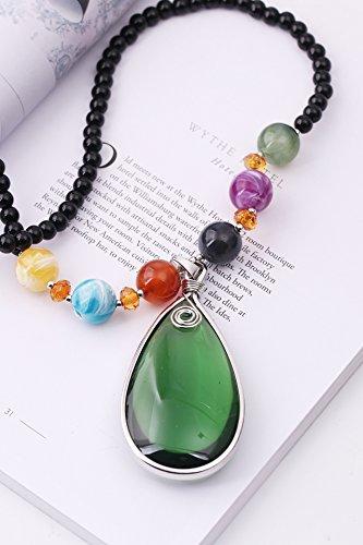 (National Retro Sweater Chain Fall Fashion Women Girls Long Necklace Pendant Gift Woman Black Rice Pearl Lanyards (Green Water Drops)