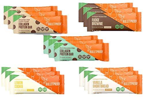 Bulletproof Collagen Bars Flavor Bundle | 15 Bars, 5 Flavors | Bulletproof Collagen Protein Bars Chocolate Fudge Brownie, Chocolate Chip Cookie Dough, Vanilla Shortbread, Lemon, Mint Chocolate Chip