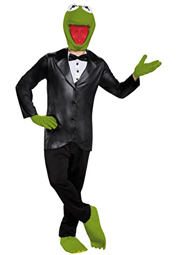 Disguise Men's Kermit Deluxe Adult Costume, Black/Green, X-Large -