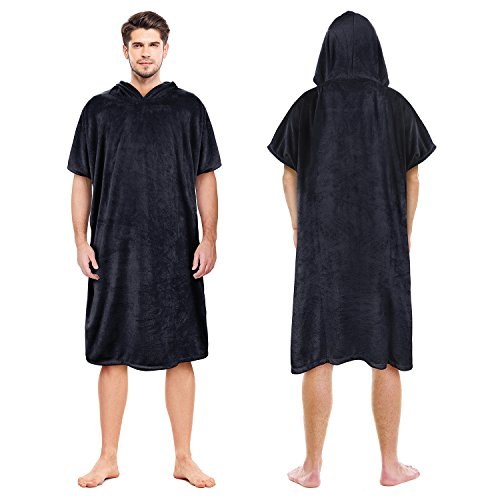 Catalonia Hooded Surf Towel Poncho,Super Water Absorption Microfiber Beach Sand-Proof Wetsuit Changing Robe for Adults Men Women Surfing Swimming Bathing Black