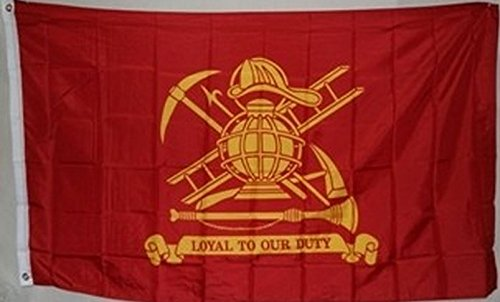 3x5 Fire Fighter Loyal to our Duty Flag Firefighter Banner Department Pennant Vivid Color and UV Fade Resistant Canvas Header and Double Stitched polyester - Free Miami Duty