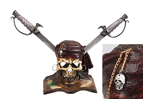 """19"""" Pirate Dagger with Polyresin Pirate Skull Stand"""