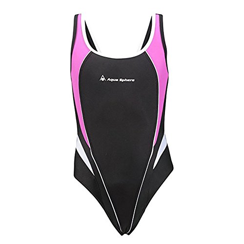 Aqua Sphere Elena Girls Open Back Swimsuit, Black/Purple,14Y by Aqua Sphere
