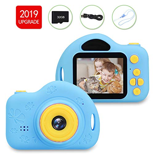 CAZON Kids Camera Gift for 5-8 Years Old Boys 1080P HD & Rechargeable Video Recorder Digital Camcorder Party Outdoor Toys for 3-12 Years Old Boys Girls (32GB SD Card Included) (Blue)