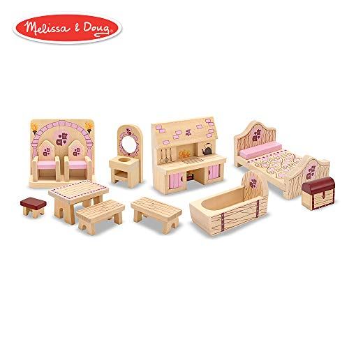 Melissa & Doug Princess Castle Wooden Dollhouse Furniture (12 -