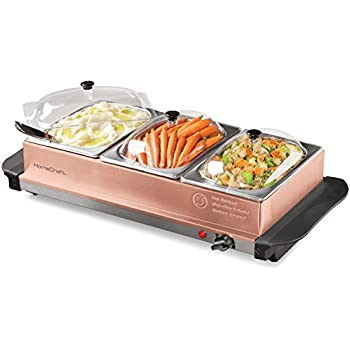 HomeCraft BSC15 3-Station 1.5-Quart Buffet Server Warming Tray, Copper