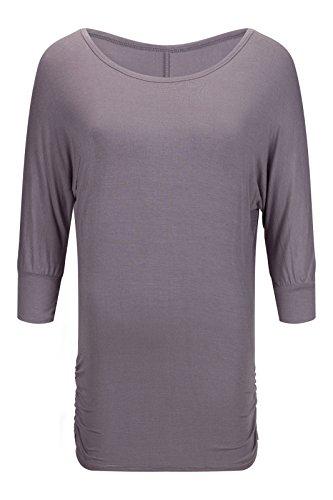 Beauty7 ES 36 Camisetas Mujeres Cuello Corazones del Melocotones Manga Larga Algodon Casual Bodycon Sudadera Dolman T-Shirt Pullover Tops Blusa Loose Suelto Parte Superior Playera Gris