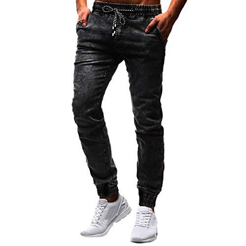 - Pervobs Men's Vintage Elastic Waist Wash Disstressed Soft Drawstring Denim Jeans Trousers Pants(2XL, Black)