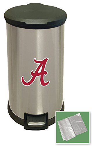 New 8 Gallon Round Stainless Steel Step Trash Can Waste Basket Featuring Your Choice of a Sports Team Logo! (Crimson Tide A)