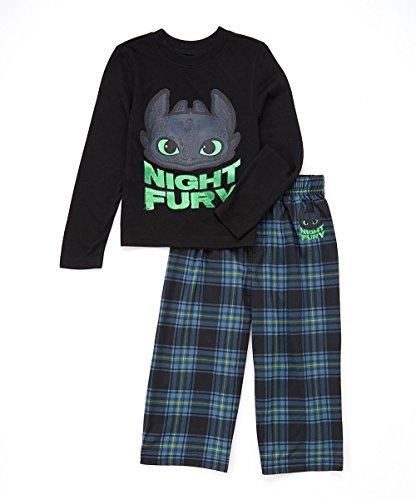 Plaid Train (Intimo Big Boys' How to Train Your Dragon 'Night Fury' Plaid Pajama Set, Blue, 10/12)