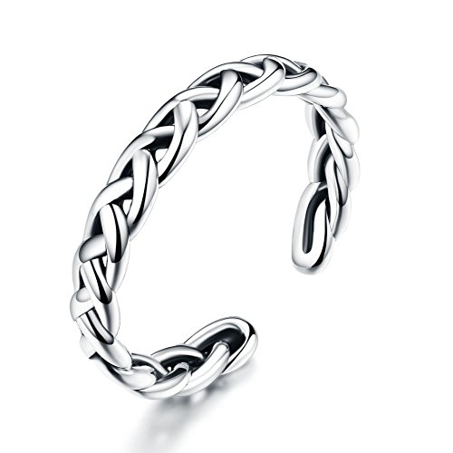 - Braided Celtic Love Knot Vintage Rings Sterling Silver 925 Twisted Ring Open Statement Band for Women Girls Men