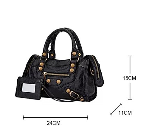 Colors Leather Big Studed 24cm Motorcycle Gold Shoulder 2 Bags Color Tech Gold Bag Gray Size Medium Women 38cm qBA4nwxZSR