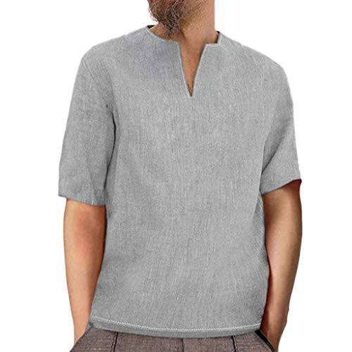 Zackate Men's Retro Baggy Cotton Linen Solid Colour T-Shirts Short Sleeve V Neck Tee Shirts Tops Blouses Gray