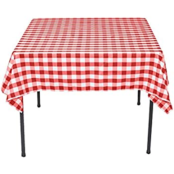 Bon LinenTablecloth 54 Inch Square Polyester Tablecloth Red U0026 White Checker
