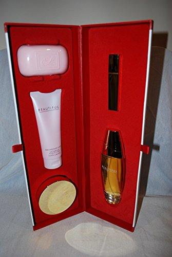 Estee Lauder Beautiful Perfume Ultimate Luxuries Holiday Gift 5pc Set 3.4oz EDP Spray, 3.4oz Body Lotion, Body Powder, (Holiday Luxury Set)