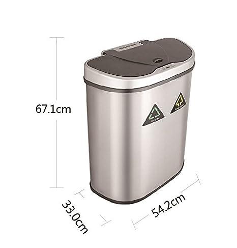 Cubo de basura del sensor 70 litros Cubo de basura automático del acero inoxidable del 100% Empuje el compartimiento de la cocina con la separación inútil 2 ...