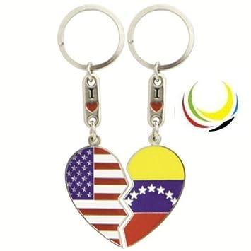 Keychain USA & VENEZUELA HEART