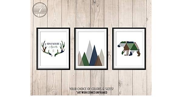 TimPrint Boys Woodland Nursery Art Prints Adventure Awaits Navy Brown Green Tribal Art Bear Antlers Mountains Set of 3 framed Framed print Wall Art