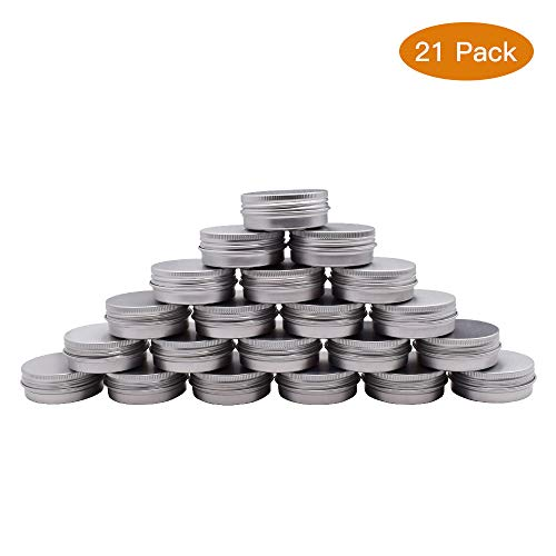 Healthcom 1oz Metal Tin Steel Flat Silver Metal Tins Jars Empty Slip Slide Round Tin Containers With Tight Sealed Twist Screwtop Cover,21Pcs