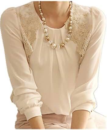 SunWard Women Sexy Vintage Long Sleeve Sheer Tops Lace Shirt Chiffon Blouse