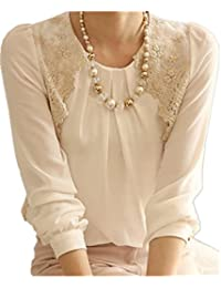 Women Sexy Vintage Long Sleeve Sheer Tops Lace Shirt...