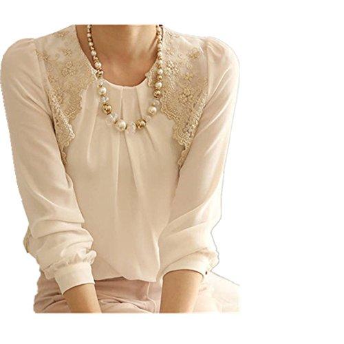 SunWard Women Sexy Vintage Long Sleeve Sheer Tops Lace Shirt Chiffon Blouse (L, White)