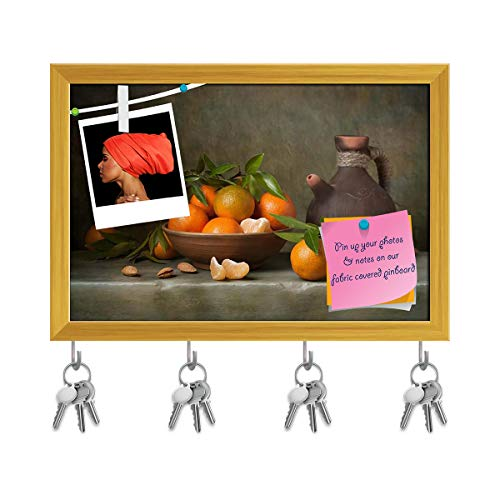Artzfolio Still Life with Tangerines & Jug Key Holder Hooks Cum Bulletin Notice Pin Board Cum Golden Framed Painting 11.7 X 8Inch - Jug Framed