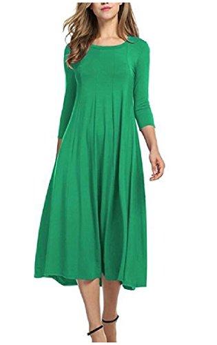 Confortable Simple Tendance Longue Longueur Genou Femme Manches Grand Vert De Robe Ourlet