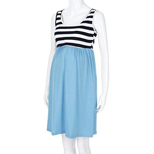MCYs Frauen O-Ausschnitt Schwangere Ärmellos Stillkleid Streifen Mutterschaft Westekleid Umstandskleid Pflege Maternity Azure 64185CI1