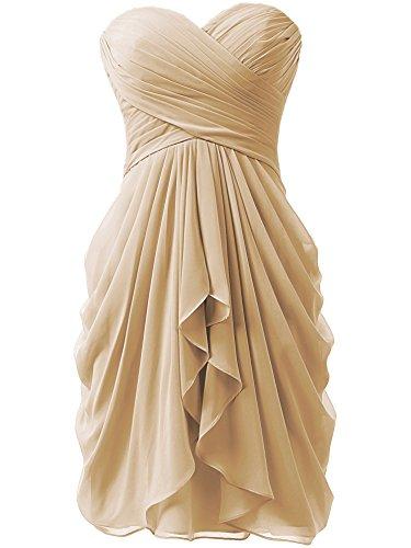 - KISSBRIDAL Women's Strapless Chiffon A-line Short Evening Party Dress Knee Length