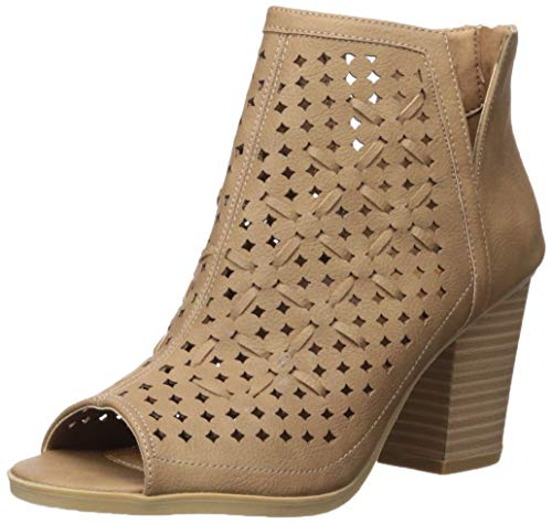 Sugar Women's Vael Open Toe Block Heel Fashion Ankle Bootie with Perf and Woven Details Boot, Natural 6 M US (Woven High Heel)