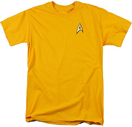 Original Star Trek Womens Uniform (Star Trek (The Original Series) Command Gold Uniform Adult T-Shirt,)