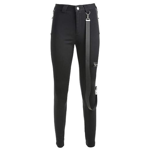 Pantalón medio elástico para mujer Womens Casual Slim Fit elástico ...