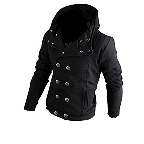 Partiss Mens Double Breasted Casual Hoodies (Small, Black)