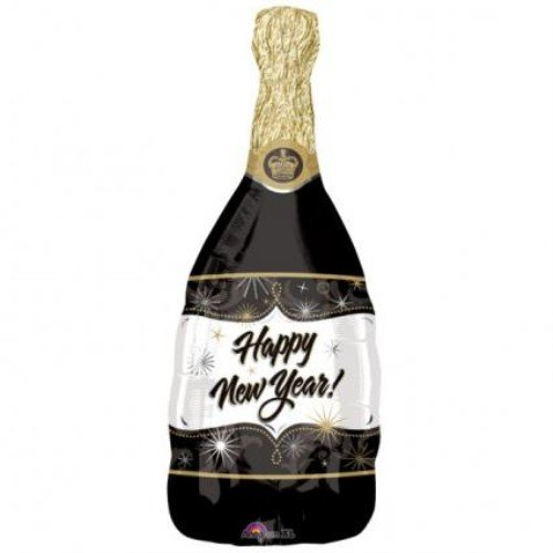 Burton & Burton Super Champagne Shape New Year Balloon, Latex, Black
