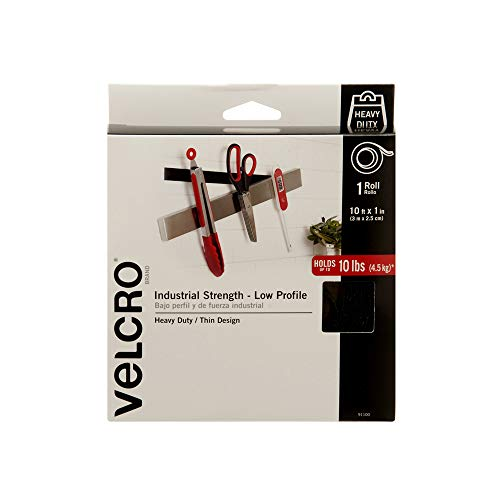 VELCRO Brand Industrial Fasteners Low Profile Thin Design | Professional Grade Heavy Duty Strength Holds up to 10 lbs on Smooth Surfaces | Indoor Outdoor Use, 10ft x 1in, Tape from VELCRO Brand