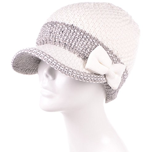 710dd4b77b94f MIRMARU Womens Winter Cable Knitted Beret Visor Beanie Hat with ...