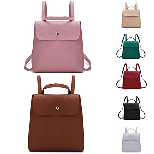 Khaki Fashion Leather Pure Handbag Backpack Simple Bag Ladies Girl Women Bag Color Mini School Shoulder YIwYUq6r
