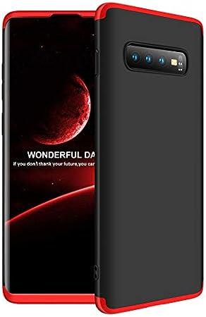 AChris Samsung Galaxy S10 Plus S10+ Carcasa 360° Ultra Fina Protectora con Plastico, 3 in 1 Hard Caja Caso Skin Case Cover Carcasa- Negro Rojo