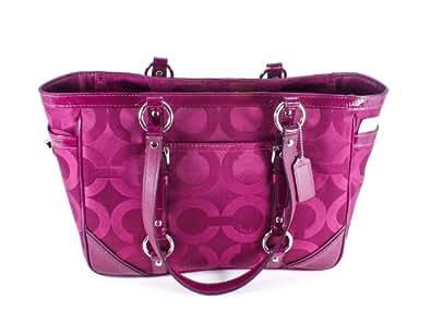 Coach Op Art Sateen Signature Gallery Tote Handbag 19404 Berry