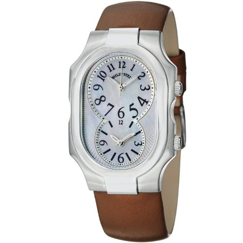 Philip Stein Signature Ladies Dual Time Brown Satin Leather Strap Watch 2-NFMOP-IBZ
