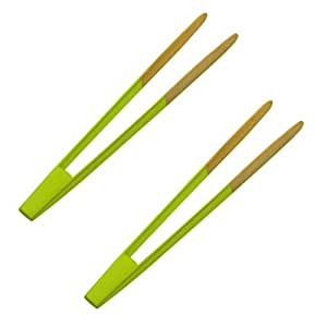 BeBeFun Assorted Colored Bamboo Food Tongs Set/ Toaster Tongs Set. 2 Color Tongs in Pack. (Green)