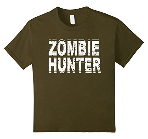 Girl Zombie Costume Ideas (Kids Zombie Hunter T Shirt Scary Halloween Costume 6 Olive)