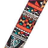Amumu Ndebele Art Denim Cotton Guitar Straps 2 Inches w/ Soft Leather End for Acoustic Guitar, Electric Guitar, Bass
