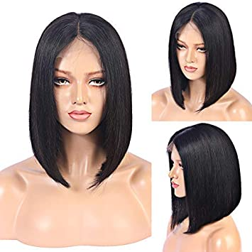 Hair Extensions & Wigs Human Hair Lace Wigs Short Bob Lace Front Wigs Human Hair Brazilian Non Remy Hair Middle Part Bob With Pre Plucked Hairline 2*6 For Fast Shipping