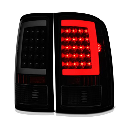 Lamps Led Tail Lights Euro (VIPMOTOZ Neon Tube LED Tail Light Lamp Assembly For 2007-2013 GMC Sierra 1500 2500HD 3500HD - Matte Black Housing, Smoke Lens, Driver and Passenger Side)