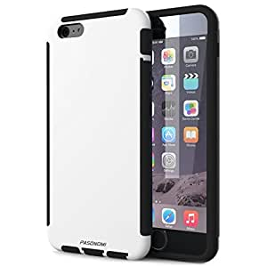 iPhone 6 Case, Pasonomi® [Heavy-Duty Dual-Layer] Soft TPU Bumper with Hard Shell Solid Polycarbonate Back Case for iPhone 6 (4.7 inch) with Built in iPhone 6 Touch Screen Protector (White)