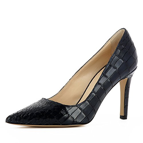 Evita Shoes Natalia Damen Pumps Krokoprägung Dunkelblau