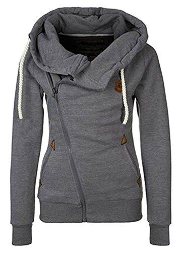 TagoWell Women Funnel Neck Hoodie Sweatshirt Fall Oblique Zipper Coat Jacket Dark Grey(US L,Asian Tag 2XL)