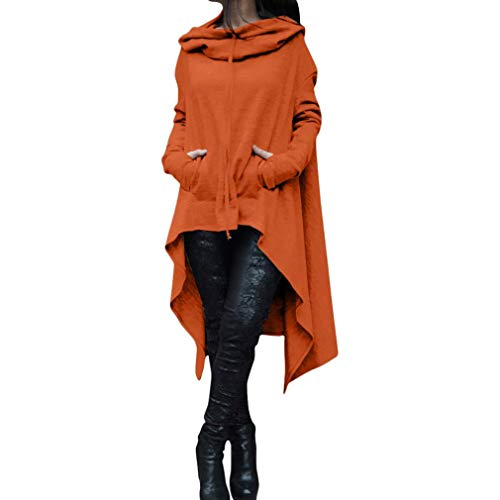 Rambling New Women's Pullover Irregular Hem Long Drawstring Loose Hoodie Top Dress Orange (Rugby Hooded Striped)